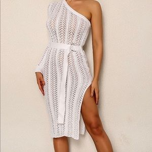 White sweater dress, one shoulder